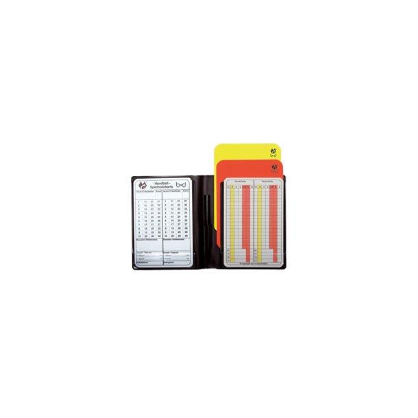 Etui med gul/rød kort + pen